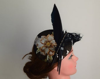 Black handpainted pillbox with feathers