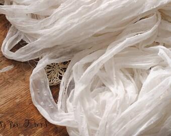 White Polka Dot Recycled Silk Ribbon Yarn Fair Trade - Choose 5 or 10 yards