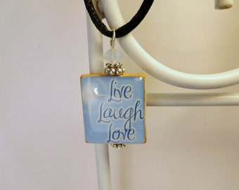 LIVE, LAUGH, LOVE Pendant / Inspirational - Uplifting - Cheerful / Scrabble Jewelry / Necklace with Satin Cord / Charm / Beaded