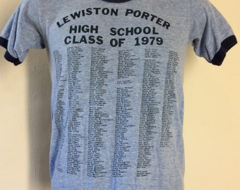 Vtg 1979 Lewis Porter High School Ringer T-Shirt Heather Blue S 70s Class Of
