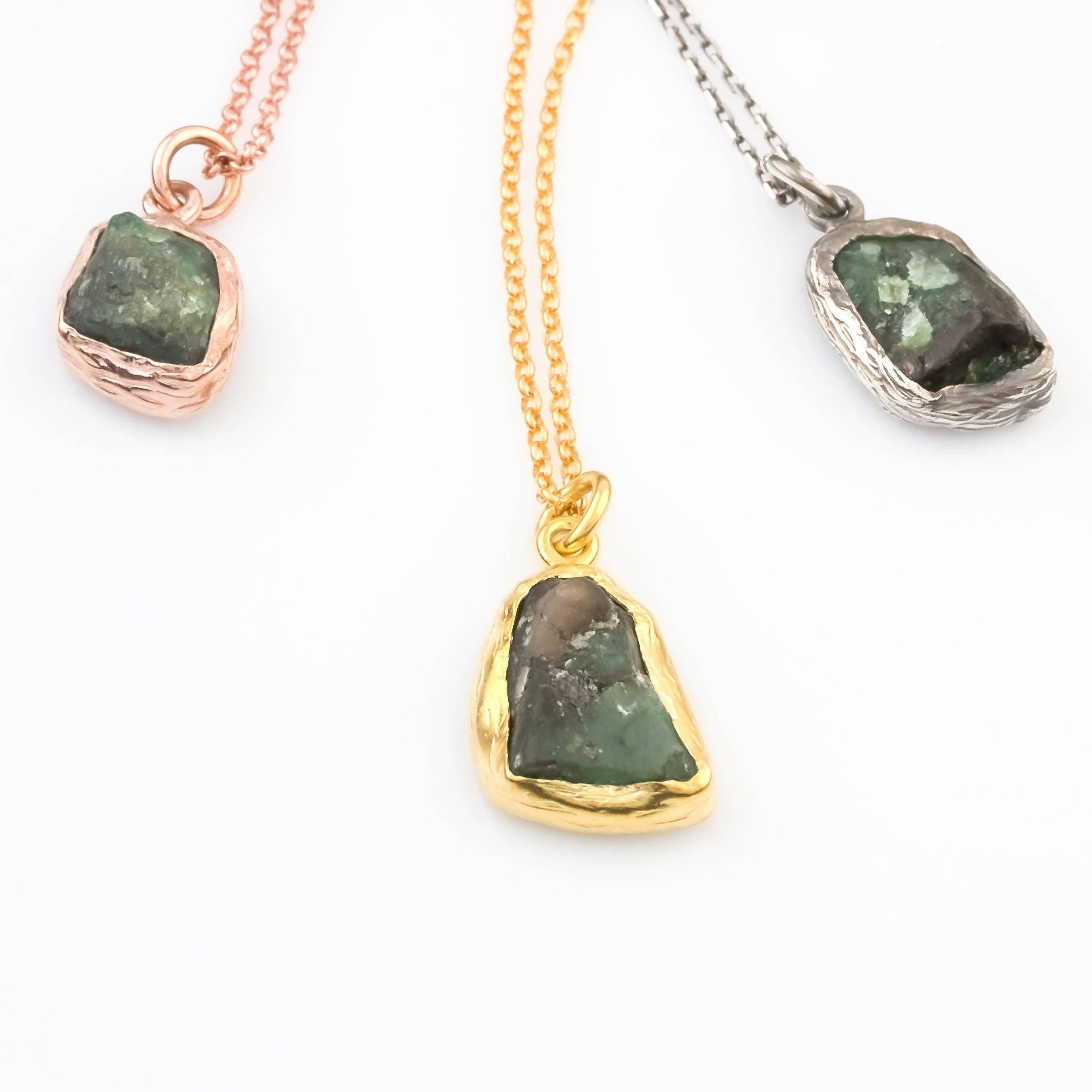 Silver raw emerald pendant emerald necklace minimalist necklace silver raw emerald pendant emerald necklace minimalist necklace raw emerald necklace gold pendant rose gold necklace gift for her aloadofball Choice Image