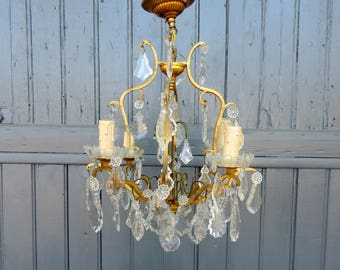 Venetian bronze and crystal glass, 4 lamp birdcage chandelier, ceiling light, pendant light