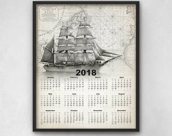 Sailing Ship Calendar 2018 - Marine Calendar 2018 - Sailing Calendar 2018 - 2018 Tall Ship Calendar - Sailing Art Calendar 2018