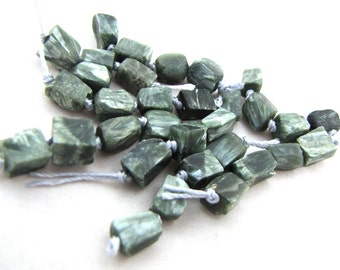 Four Flashy Chatoyant Forest Green Seraphinite Oblong Rectangular Cube Stone Beads with Silvery Shimmer  - set of 4 beads