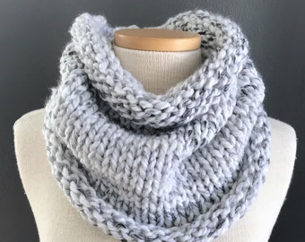 "Chunky Knit Cowl Neck Scarf / Color - Marble /  The ""Stella"" cowl / Infinity cowl / custom colors available"