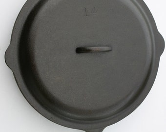 "Vintage LODGE 15 1/2"" Width Near Mint Very Rare Size No. 14 Cast Iron Skillet Pan w/ Lid Cover, Professionally Cleaned, Seasoned Organically"