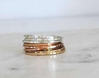 Gold Stacking Ring, Gold Ring, Stack Ring, Gold Stack Ring, silver stack ring, simple gold ring, gold hammered ring, dainty gold ring