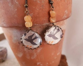 Grey Dove Woven Ribbon Earrings with Aventurine Beads / Designer Jacquard Earrings / Dangle & Drop Earrings / Gemstone Jewelry / Orange Bead