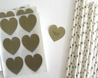 "SALE ~ 24 Matte Gold Heart Stickers, Heart Envelope Seals 1 1/2"", Heart Scrapbooking Stickers, Gold Heart Labels"