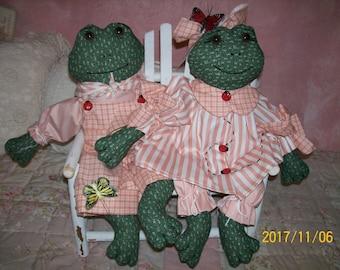 Handmade Girl and Boy Frog Set
