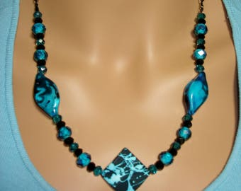 Electrifying Blue and Black Statement Necklace