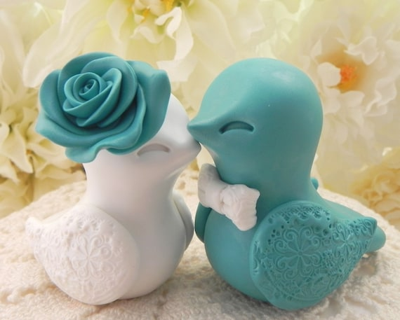 Love Bird Wedding Cake Topper, Teal and White, Bride and Groom Keepsake