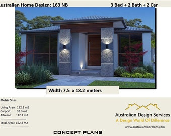 House Plans 163 m2 | 3 bedroom + Carport | 3 Bed Room house plans | Home plans for 3 bedroom | floor plans 3 bedroom |  design a home