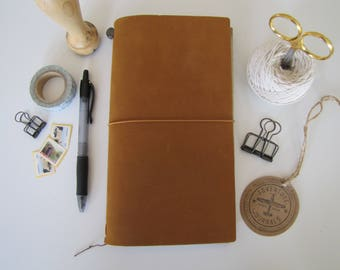 Genuine Traveler's Notebook-Midori-Camel Color Leather Cover, Regular Size, Travel Journal, Travelers Company , Original