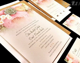 Watercolor Painted Floral Custom Wedding Invitation Flower Rose Spring Summer Garden Pink Coral Daisy Green Yellow Gray Succulent Paint Gold