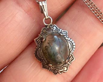 MOSS AGATE Sterling Silver Necklace * Art Deco * Vintage Jewelry