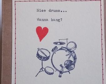 Funny Love Card Drums card for drummer husband boyfriend valentine for him drummer musician love card