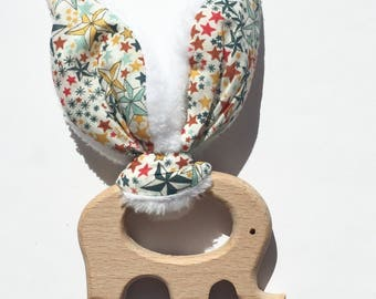 natural wooden teething rattle