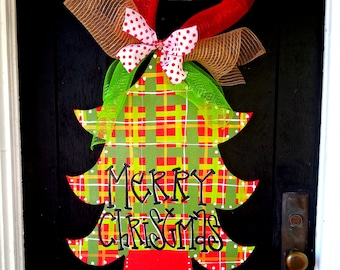 Christmas Wreath, Christmas Door Decoration, Christmas Tree Door Hanger, Plaid Christmas, Christmas Decor, Holiday Door Decoration