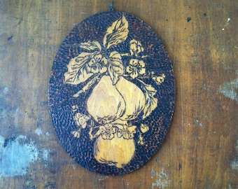 Antique 1900s Pear Fruit Wood Pyrography Wall Plaque