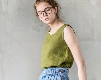 VIENNA linen tank top / Round neck washed linen blouse / linen tank top in moss green