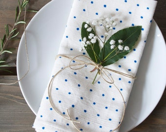 Blue Linen Union Polka Dot Napkins - Set of 2