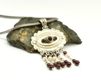 Sterling silver garnet necklace bohemian pearl and garnet stone necklace, Statement garnet jewelry January birthstone gift for her,
