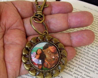Moana and Maui Keychain (KC701), Moana Graphic under Glass,  Bronze Hardware, Disney Princess