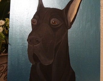 Black Great Dane Painting