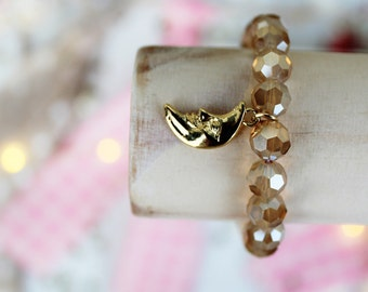 Gold Caramel Faceted Beads with a Gold Moon Charm