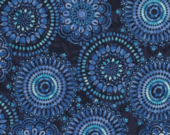 Timeless Treasures - Butterfly Grotto - Medallions - Navy - Fabric by the Yard C5687-NVY