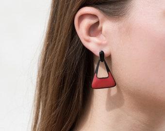 red triangle drop earrings / black geometric earrings