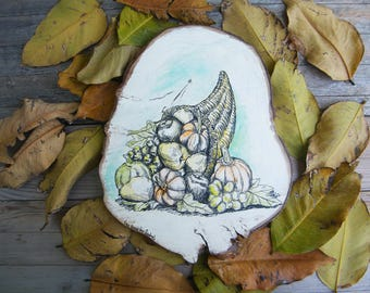 Thanksgiving Decor, Cornucopia Wood Slice Art, Thanksgiving gift, Cornucopia Print, Fall Decor, Autumn Decor, Thanksgiving Paintings