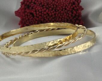 14k Wedding Bangles ,Set Of Hammered Bangle,3 Solid 14k GOLD Bangles, 14K GOLD, Bracelet For Women,Shiny Hammered Bracelet,14k Wide Bracelet