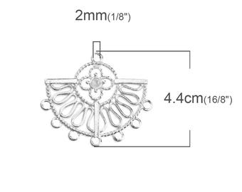 5 connectors silver half moon flower chandelier - creating SC0097309 jewelry-
