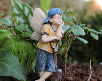 "Fairy Gavin Leaning on His Shovel (3.25"") for the Fairy Garden"