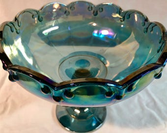 Antique Iridescent Blue Carnival Glass Fruit/Compote
