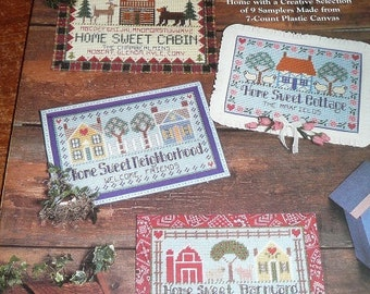 Vintage The Needlecraft Shop Home Sweet Home Samplers Plastic Canvas