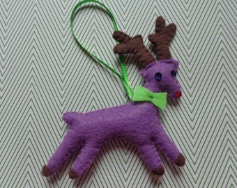 Purple Handmade Reindeer Ornament by Pepperland