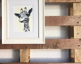 Giraffe Print Hand Drawn Original Art