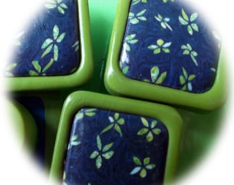 Furniture original, spring, in shades of Denim Blue and lime green buttons
