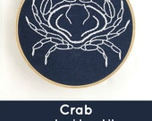 Crab embroidery kit, crab embroidery pattern, indigo, blue and white, modern embroidery kit, crab crossstitch, cancer zodiac, DIY embroidery