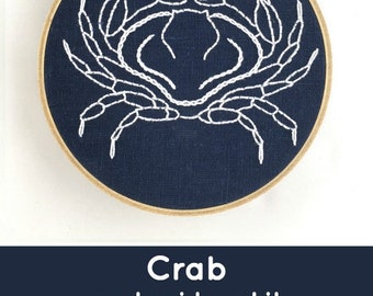 Crab Embroidery Kit: Indigo!