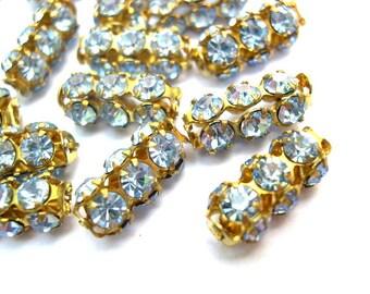 2 Vintage SWAROVSKI  light blue beads rhinestones crystals in metal setting genuine 1100 made in Austria