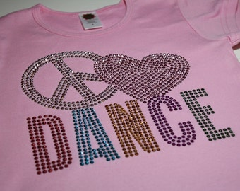 PEACE (HEART) DANCE rhinestud  tee by Daisy Creek Designs