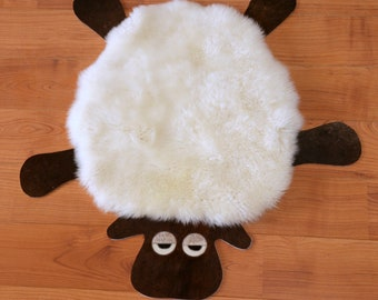 SHEEP Design Pure soft Sheepskin Area Rug. Handcrafted Furry, soft. Limited Edition