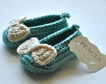 Baby & Co Baby Shoes - Blue Baby Slippers with Off White Bows