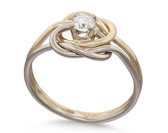 14k Gold 0.25ct Diamond Ring - Solid Gold Ring - Promise Ring for Her - Wedding Ring - Love Knot Ring - Infinity Ring - Eternity Ring