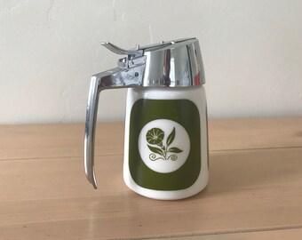 Vintage Milk Glass Syrup Dispenser