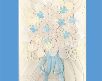 Wedding Bouquet Card - in blue, pink or yellow -- Over 20 flowers - Free Shipping in USA